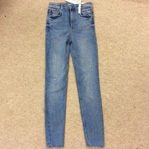 NWT Zara high waisted skinny jeans cutoff 36 4